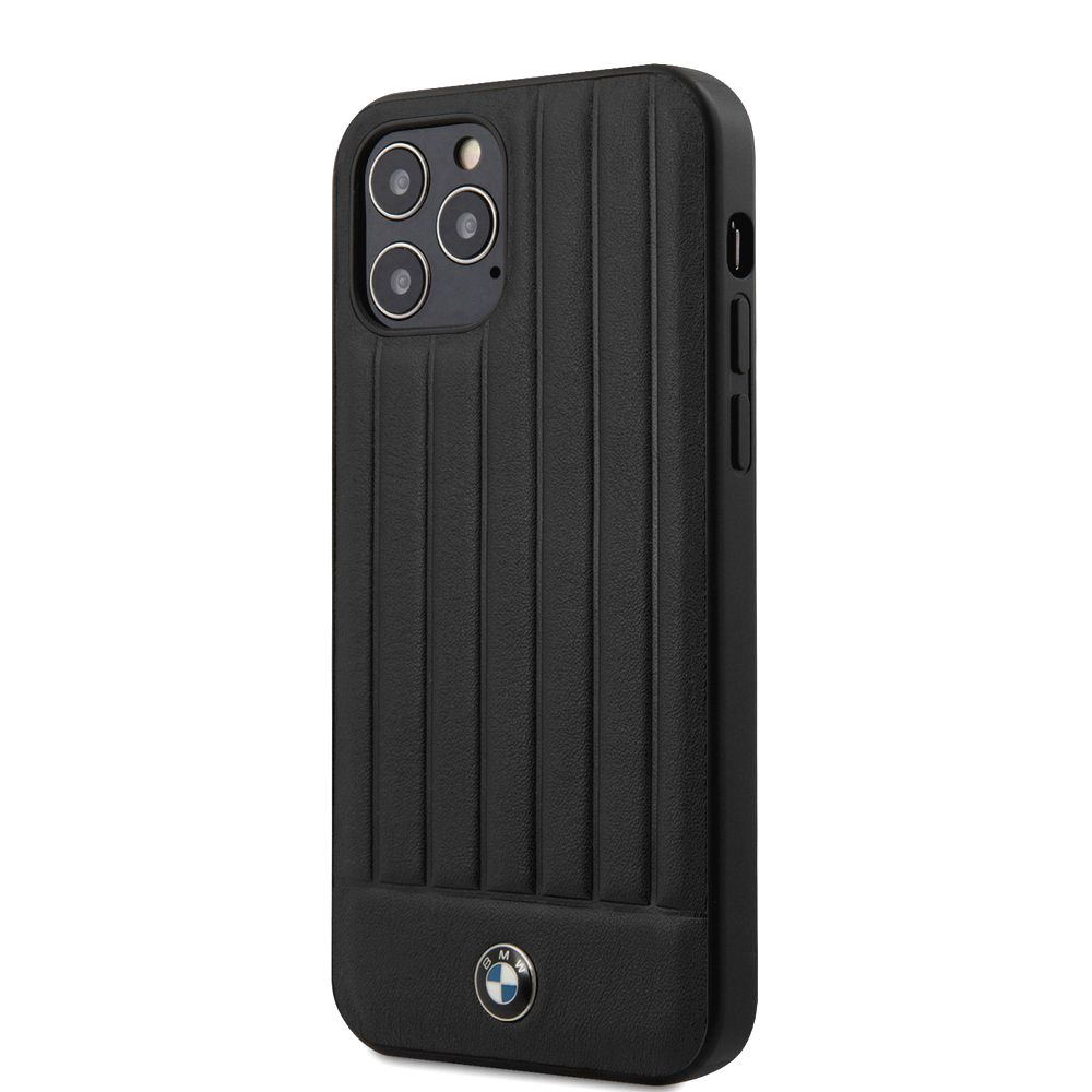 BMW BMHCP12MPOCBK LEATHER HOT STAMP VERTICAL LINES KRYT PRO IPHONE 12/12 PRO 6.1 BLACK