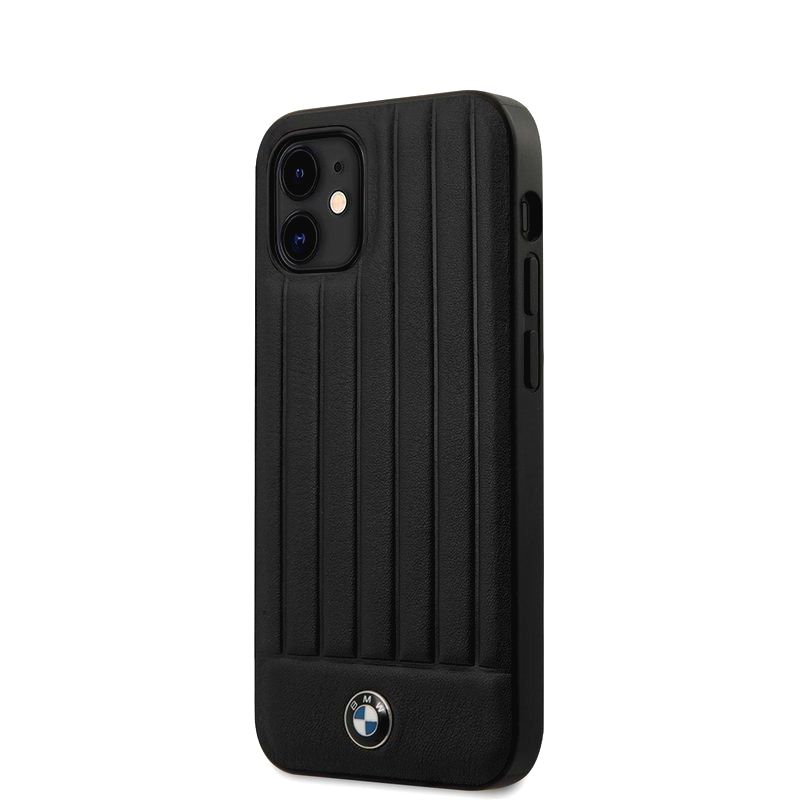 BMW BMHCP12SPOCBK LEATHER HOT STAMP VERTICAL LINES KRYT PRO IPHONE 12 MINI 5.4 BLACK
